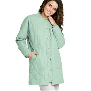 Universal Thread Quilted Mint Long Jacket Pockets